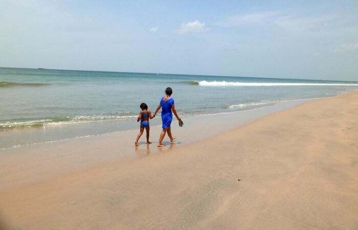 Sri Lanka family holiday - walking on the beach