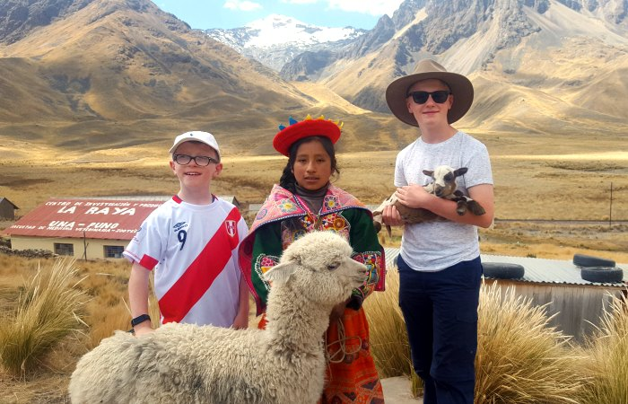 Kids on a Peru family holiday with alpacas in the Andes