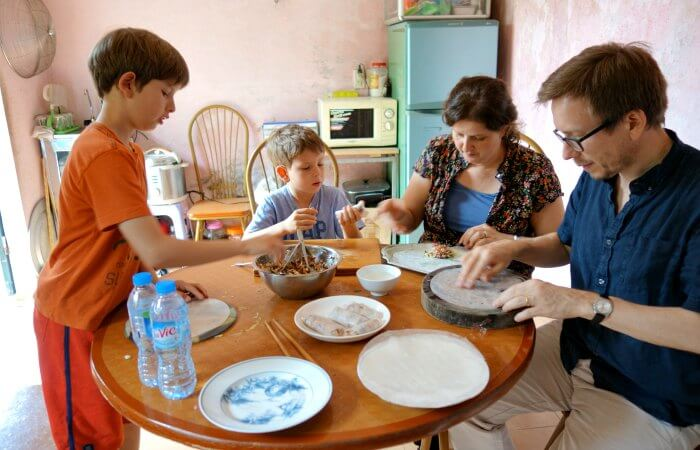 Vietnam family holidays activity - learning to make spring rolls