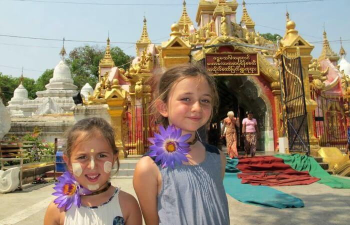 Burma temple family visit