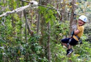 Cuba itineraries - young boy zip lining