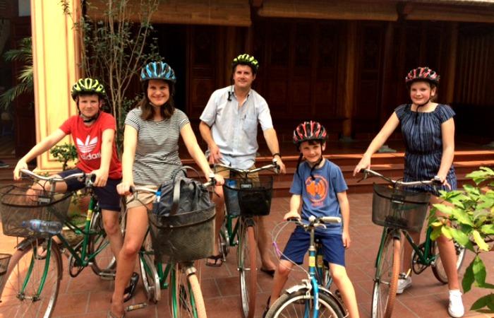 Vietnam itineraries - family adventure holidays - exploring Hanoi by bike