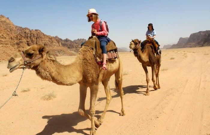 Camel riding in Wadi Rum - Jordan with kids