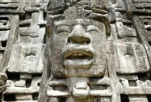 Belize itineraries - Lamanai Mayan mask