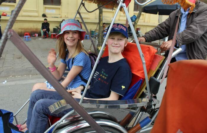 Vietnam with kids - Cyclo ride Hanoi