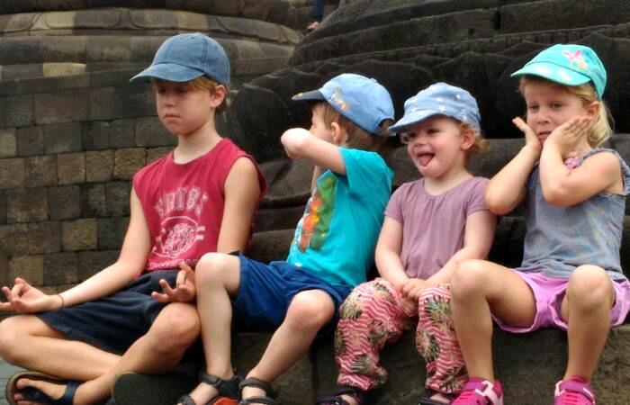 Indonesia and Bali family holidays - kids at Borobudur on Java