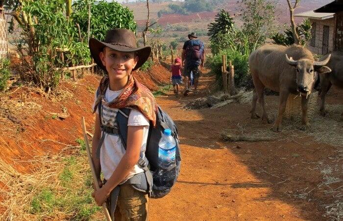 Family trekking holidays - Burma family trekking