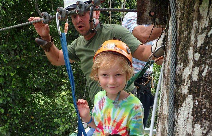 Costa Rica kids - zip linking in Monteverde