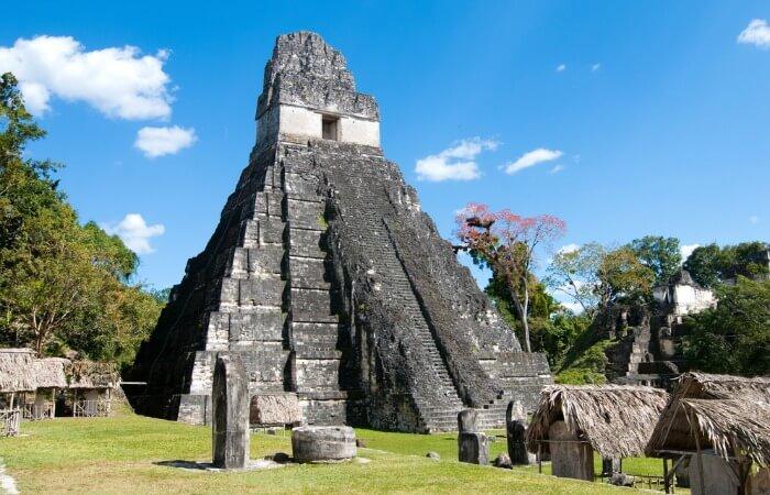 Guatemala family holiday - close up of Tikal Mayan pyramid on sunny day