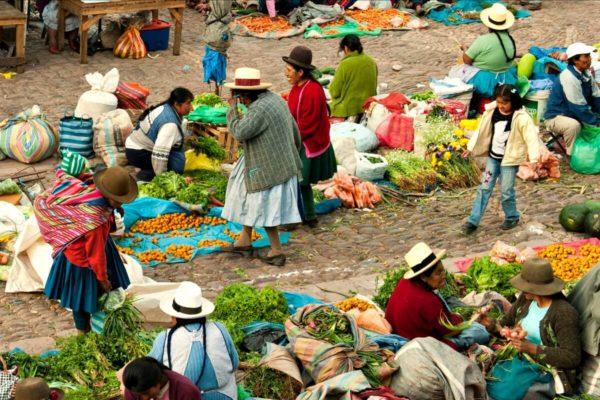 Peru with kids - bustling Peruvian Market