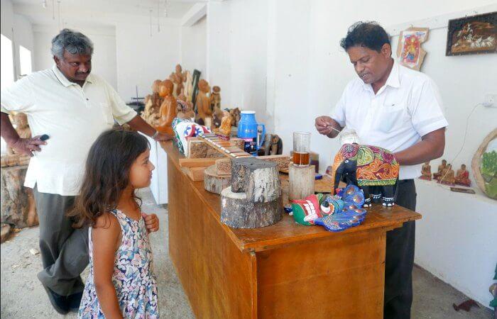 Sri Lanka with kids - craft shop - painting elephants