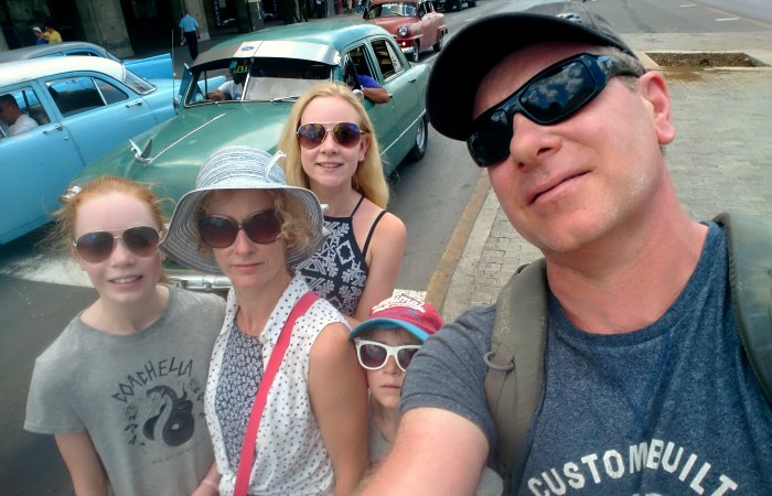 Cuba street scene on a family adventure holiday