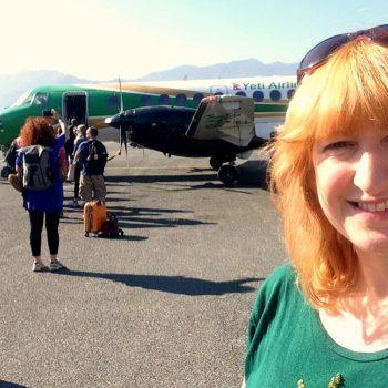 Nepal photo diary - Kelly about to fly from Pokhara to Kathmandu