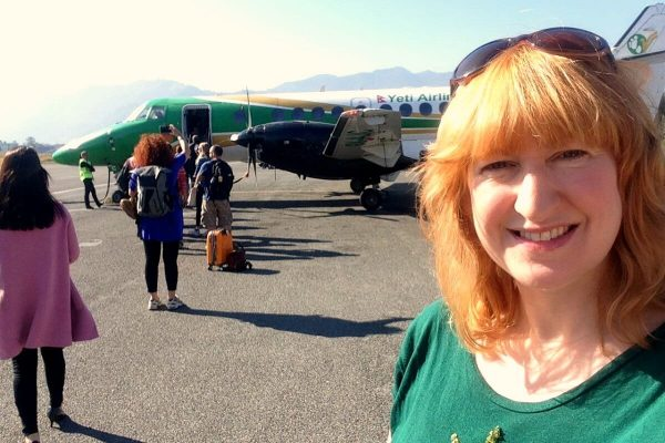 Nepal photo diary - Kelly about to fly from Pokhara to Kathmandu