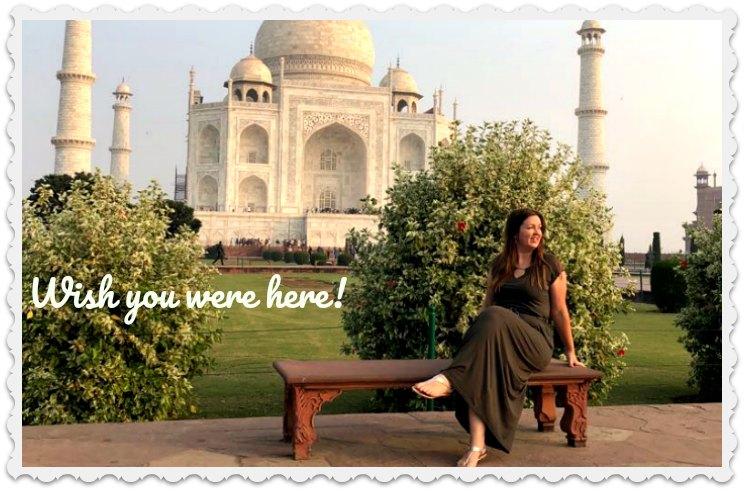 Charlotte Hamilton in India - posing in front of Taj Mahal