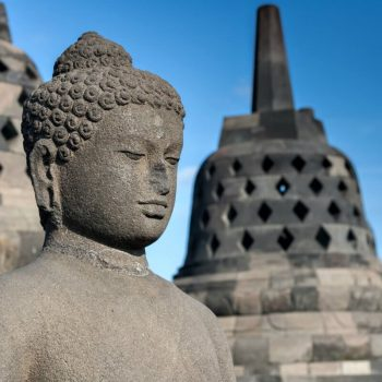 Java and Bali with kids - buddha statue at Borobudur