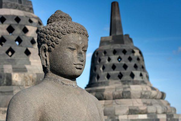 Java and Bali with kids - buddha statue at Borobudur