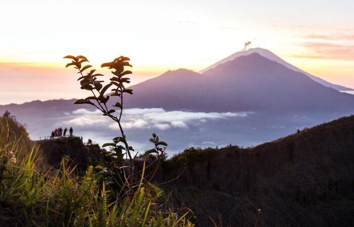 Java and Bali with kids - sunrise over volcano
