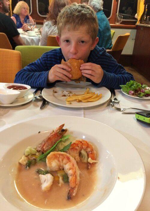 Delicious sea food on a Galapagos Island cruise - on Santa Cruz II