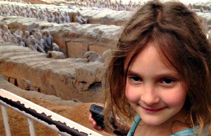Girl visiting the Terracotta Warriors