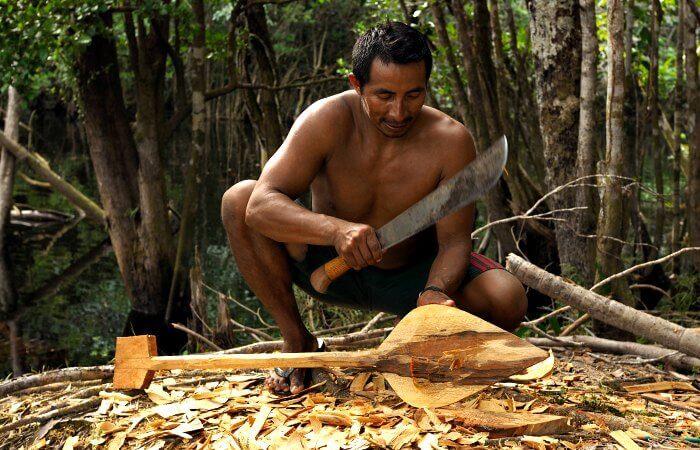 Making a wooden paddle - Amazon - Brazil with kids itinerary