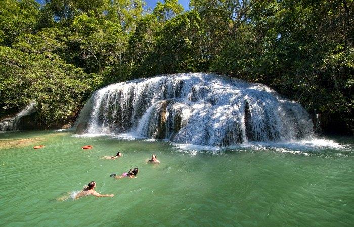 Bonito - swimming in waterfall - Brazil