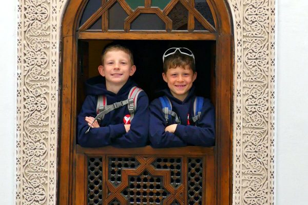 Morocco with kids itinerary - two boys in window
