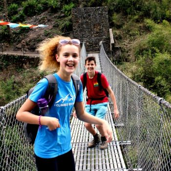Two teenagers on a family trekking holiday in Nepal with Stubborn Mule