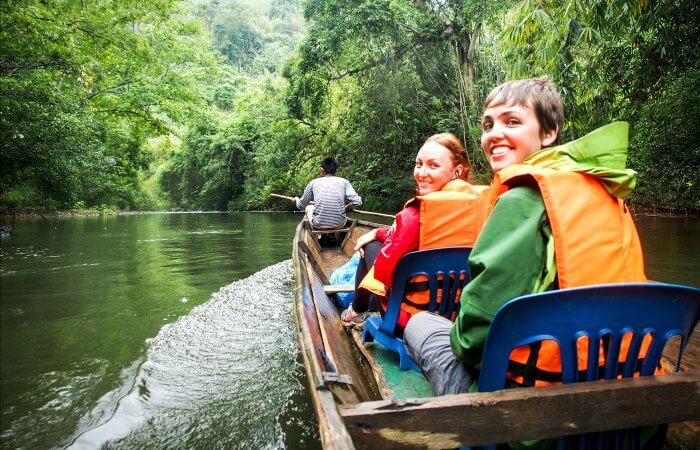 Setting off ahead of a night safari - Laos family holidays