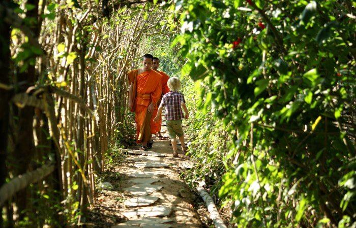 Laos family holidays - monks in Luang Prabang