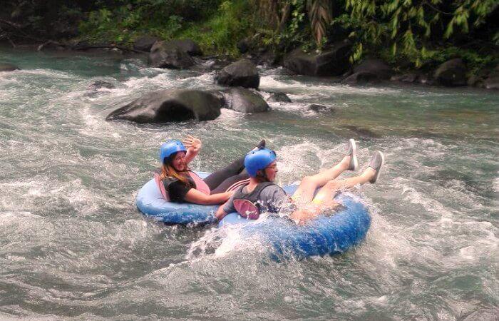 Costa Rica with kids - tubing Rio Celeste