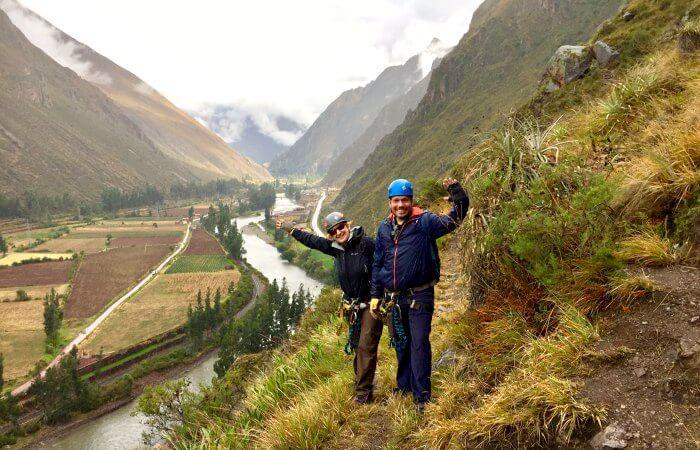 Preparing to zip line in Peru