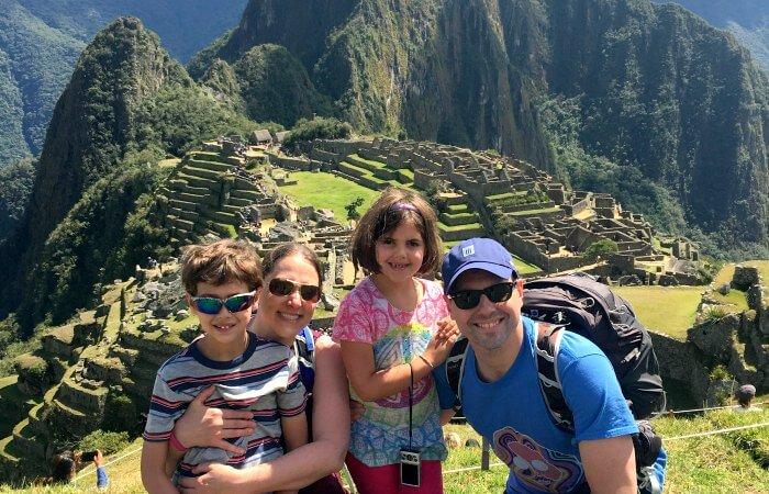 Peru with kids - family at Machu Picchu