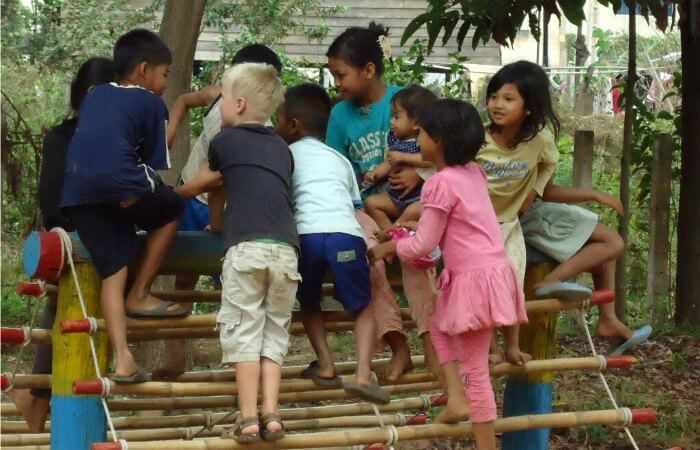 Cambodia with kids - playing with new friends