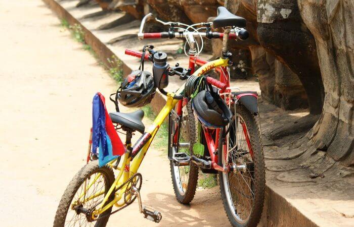 Bikes at Angkor Wat - Cambodia with kids