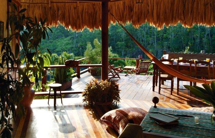 Blanceneaux Lodge terrace Belize - luxury family holidays