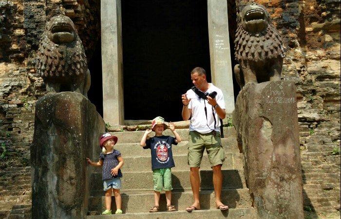 Budget family holidays - family exploring Sambor Prei Kuk