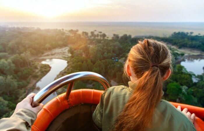 Luxury family holidays - balloon flight over Mara