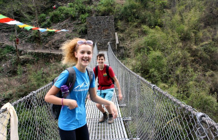 Teenagers hiking in Nepal