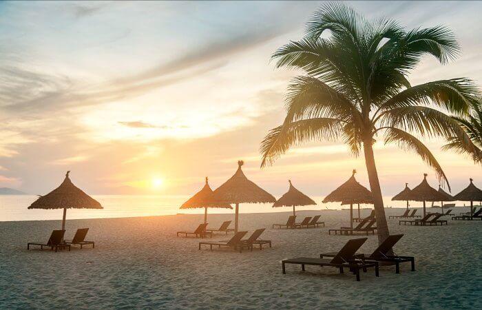 Hoi An beach, Vietnam, at dusk