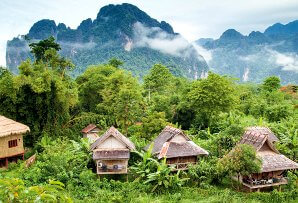 Village huts from above - Laos itinerary