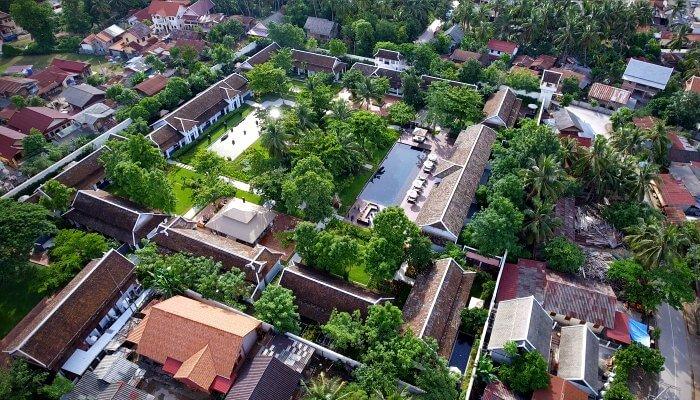 Aerial view of Sofital Luang Prabang with pool