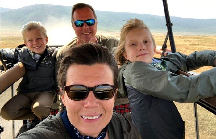 Family game spotting in Ngorongoro Crater