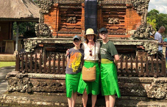 Mum and sons at Bali temple