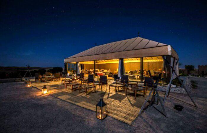 Tented restaurant at Moroccan desert camp - Terre des Etoiles