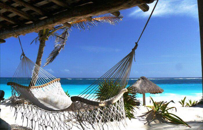 Mexico beach with hammock