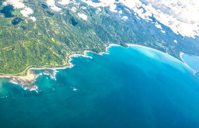 Pacific coast route in Costa Rica