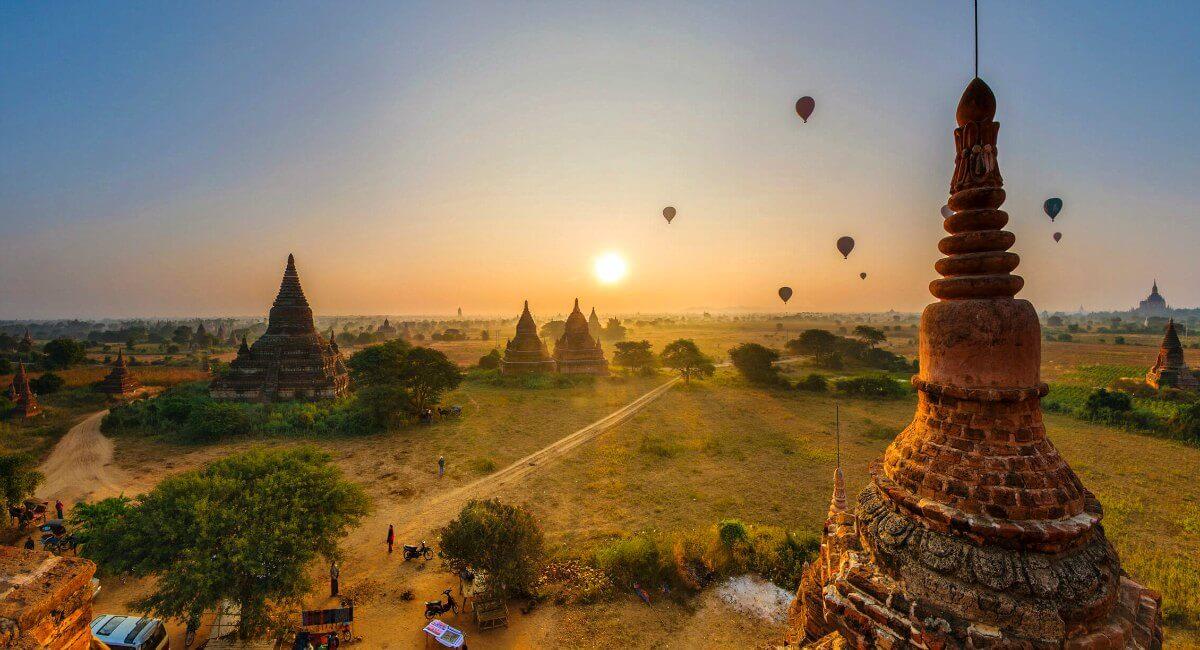 View of Bagan's temples at sunrise, Burma