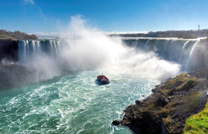 Canada family holidays - Niagara Falls with visitor boat