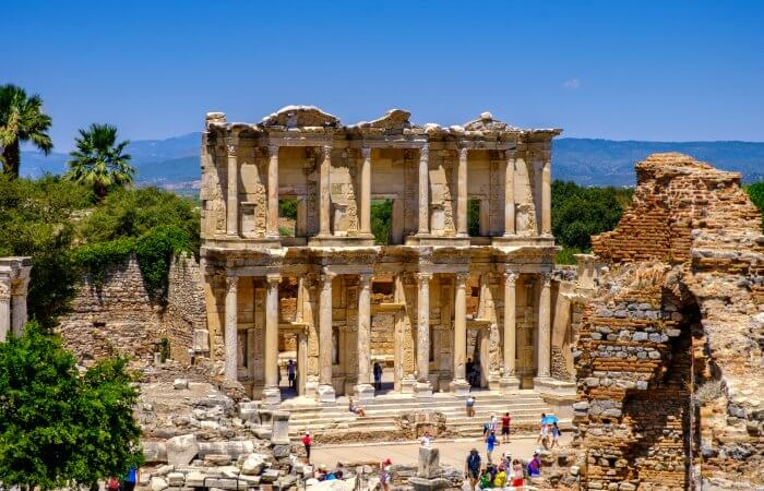 Library facade and courtyard of Celus - at Ephesus, places to visit in Turkey